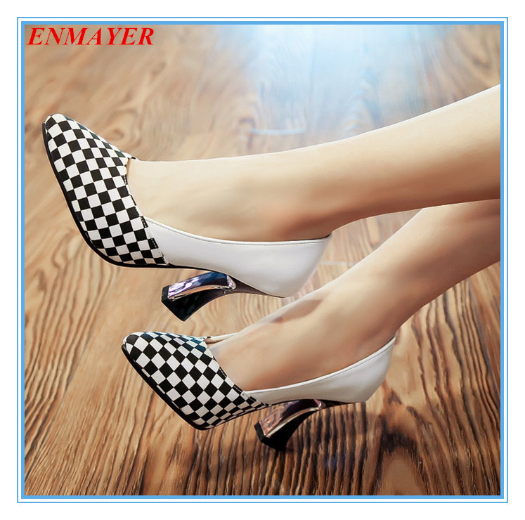 ENMAYER pointed toe 2015 platform pumps square heels fashion elegant women pumps two colors size 34-44 party shoes for ladies