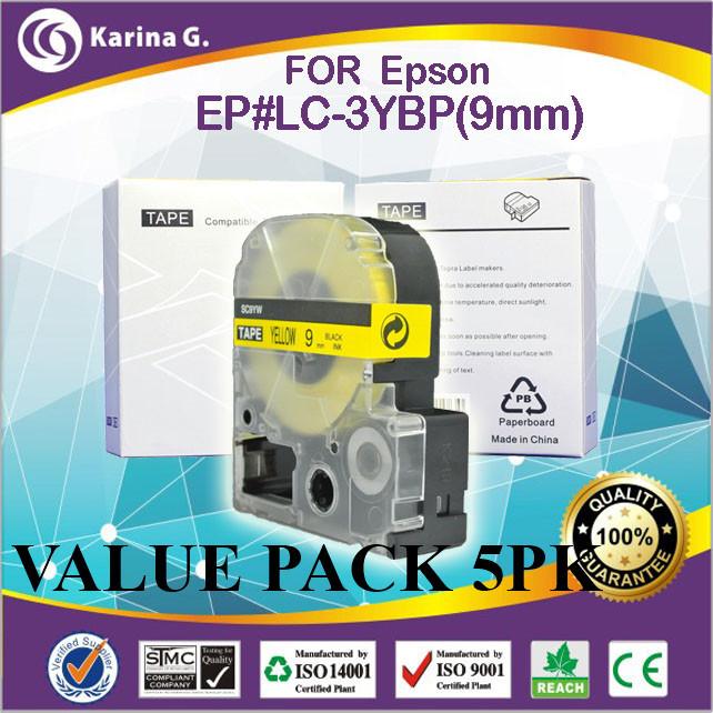 Здесь можно купить  5PK for epson lc-3YBP label tape  cartridge 9mm*8m yellow on black free shipping  Компьютер & сеть