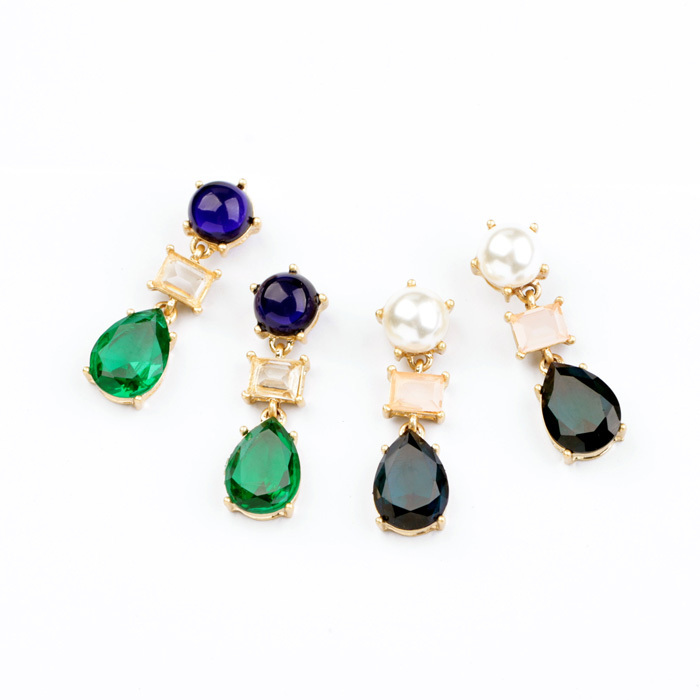 Hot New Labradorite Statement Costume Jewelry Wholesale Green and Blue Crystal Glass Earrings For Women(China (Mainland))