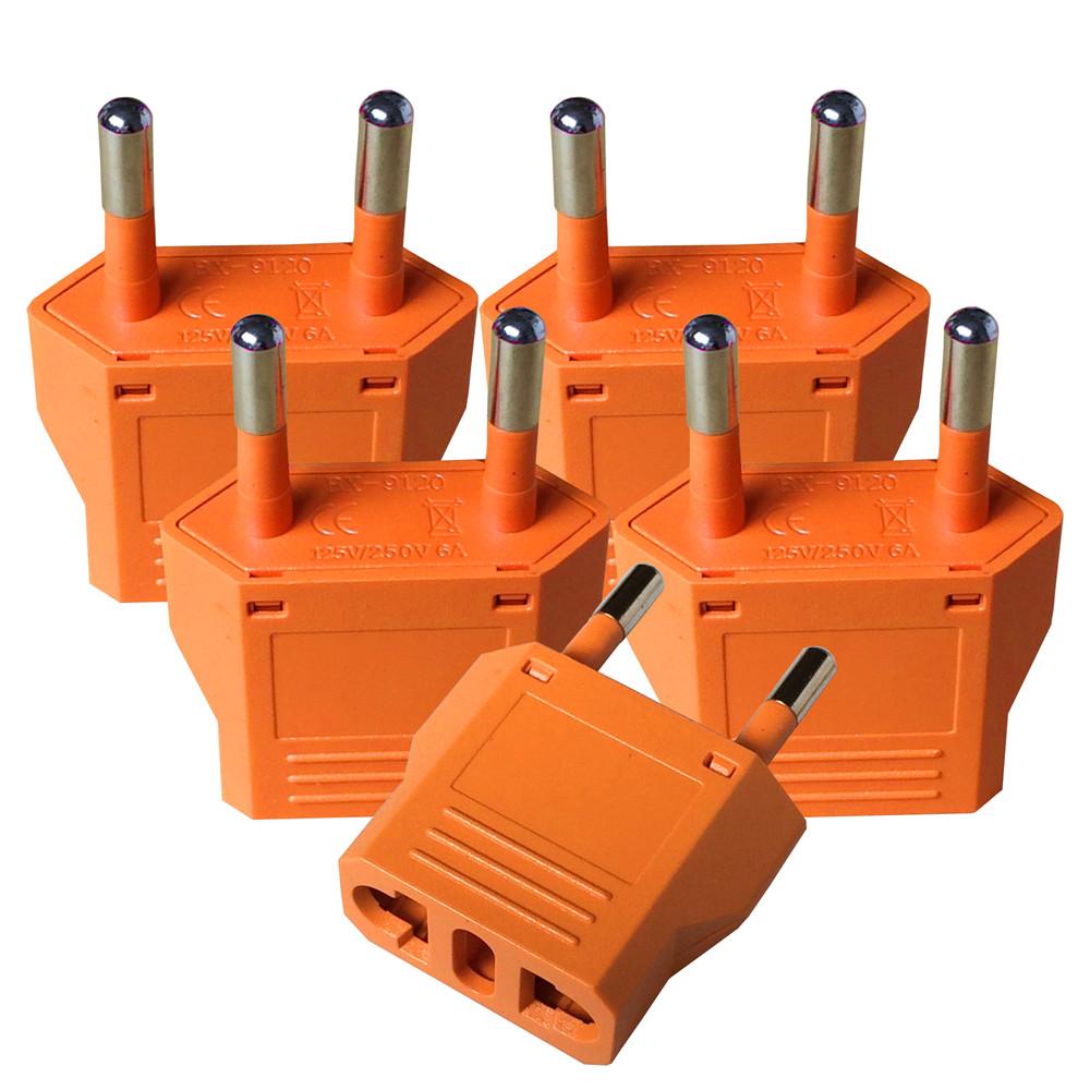 U.S. brand Patented products 5 pcs US to EU Travel Adapter Plug adaptor plug convertor plug Power Converter -orange color(China (Mainland))
