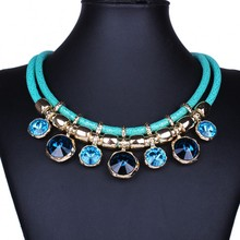 2015 New Fashion Jewelry  Women Bib Collar Chokers  Necklaces With Crystal Gem Statement Necklaces Double Chain DFX-748(China (Mainland))