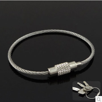 Гаджет  Money supply increased exposure bold stainless steel wire rope keychain EDC key quickdraw ring single price None Спорт и развлечения