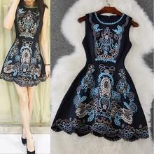 2016 new fashion women slim dress women emboridery O-neck slim vintage Europe ladies high quality Jacquard fabric dresses 5DD2(China (Mainland))