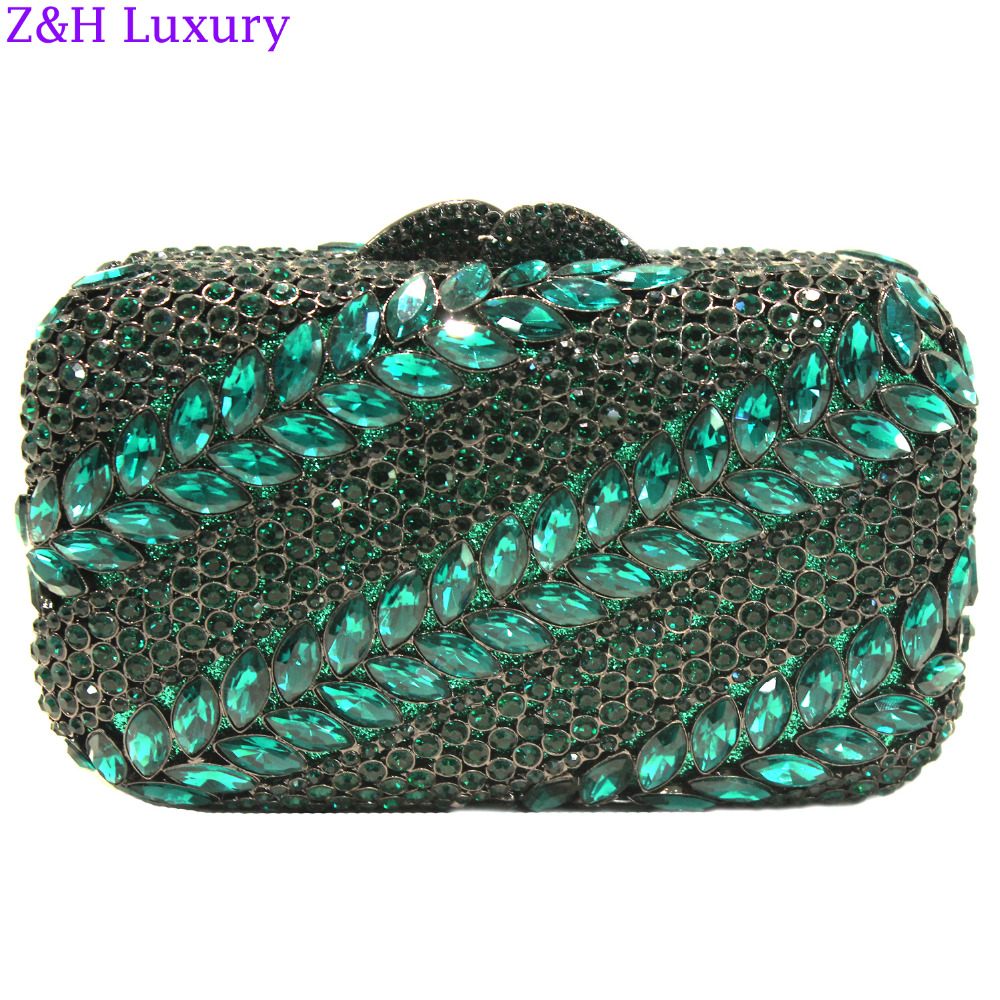 Z&H Luxury Big Green Stone New Design Beautiful Rhinestone Handbag Party Bag Zinc Alloy Metal Hollow Design Deluxe Evening Purse(China (Mainland))
