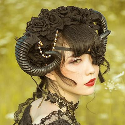 Handmade Black Flower & Sheep Horn Gothic Lolita Cosplay Hat