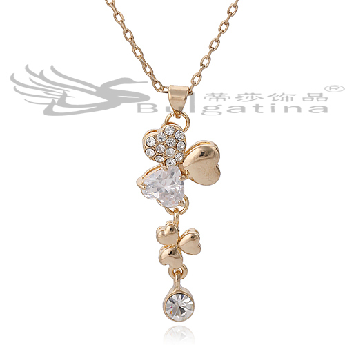 2014 Crystal Flower Long Statement Necklace Gold Plated Fashion Pendants Luxury Jewelry Factory Price JA2755-2 - Disha Findings store