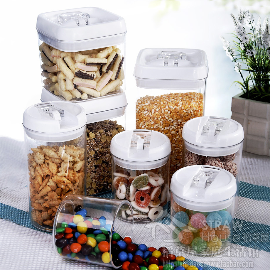 Straw Large plastic canister food cans milk powder storage tank dry candy buckle tank tea caddy circle or square 4piece/set(China (Mainland))