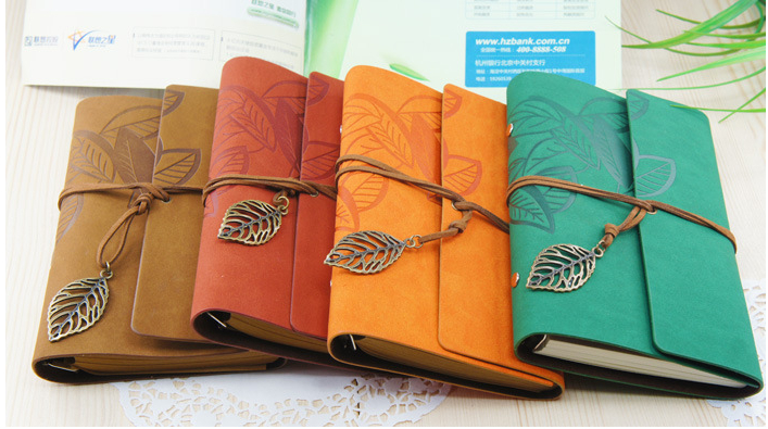 Old Book Cover Notebook ~ Leather leaves cover notebook notebooks ties vintage paper