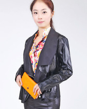 Hot Selling Women European and American punk rivets decorative double lapel jacket leather(China (Mainland))