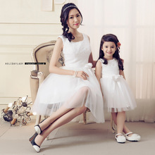 Party Dress Elegant 2015 summer Plus Size Women Clothing Vintage white lace bow mother/daughter family bridesmaid organz Dress