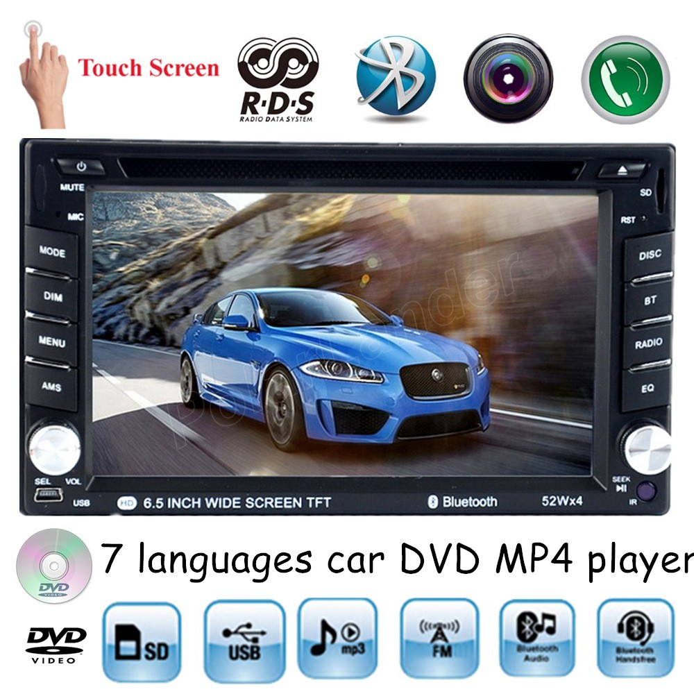 universal 2 din 6.5 inch USB SD AM FM RDS 7 languages touch screen Car DVD MP4 player Bluetooth handsfree for rear camera(China (Mainland))