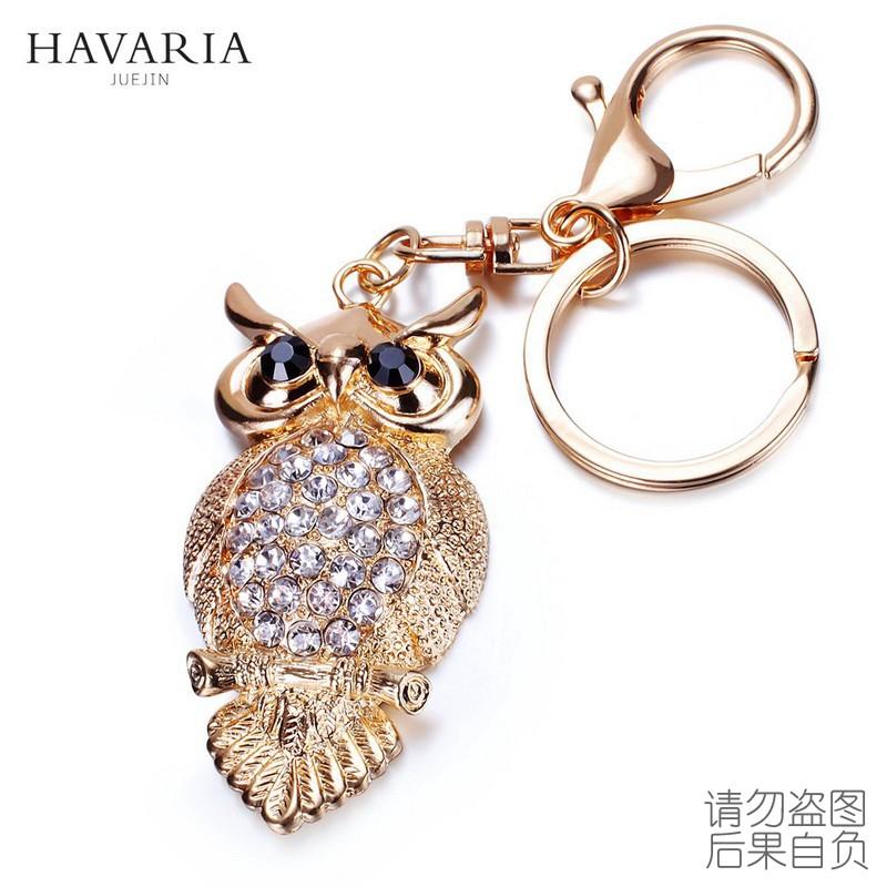 Brand HAVARIA fashion rhinestone owl Ms girl women keychain bag pendant quality chic Car key chain ring holder Jewelry bbk-002