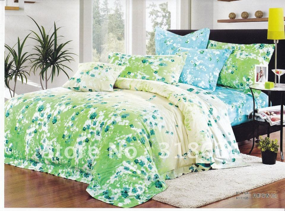 Full/queen duvet quilt doona cover bedding set with activated flowers printed blue beds Selective quilt comforter 4piece set(China (Mainland))
