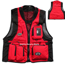 Large Plus Size Summer Man's Sleeveless Red Black Fishing Vest Male Outdoor Mesh Multi-pocket Photographer Colete Jacket For Men(China (Mainland))