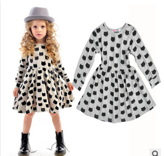 Retail baby Girls black cat Dresses long sleeve children's causal cotton dress princess dress fashion 2015(China (Mainland))