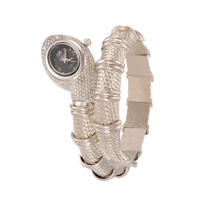Silver Color Snake Women Bangles Watch Alloy Quartz Dress Watch For Ladies 52x53mm; Watch Face: 17x12mm(China (Mainland))