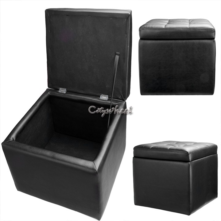 Multi-function ottoman storage box Black folding stool changing can sit covered footrest stool storage sofa 40 x 40 x 38CM 31(China (Mainland))