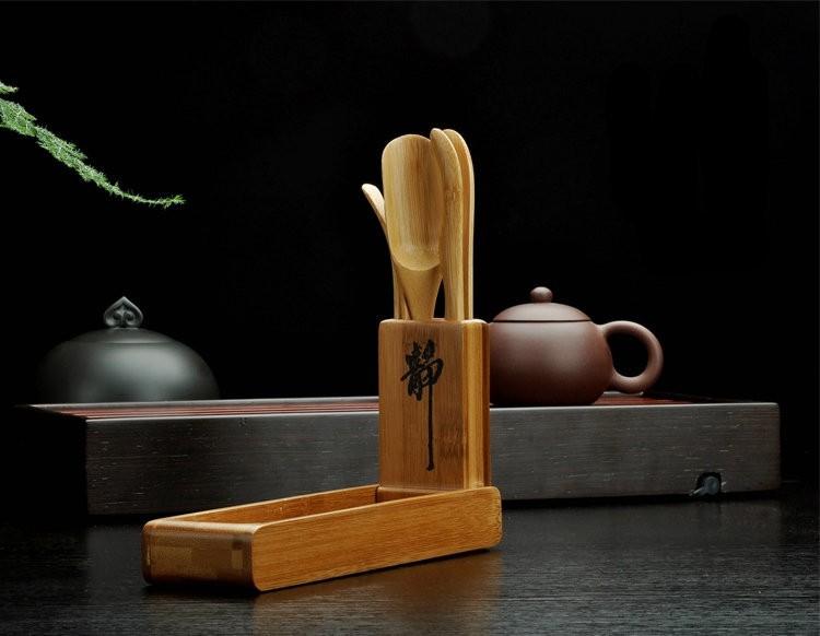 складные бамбуковые чая инструменты набор чая иглы чай ложку комплект