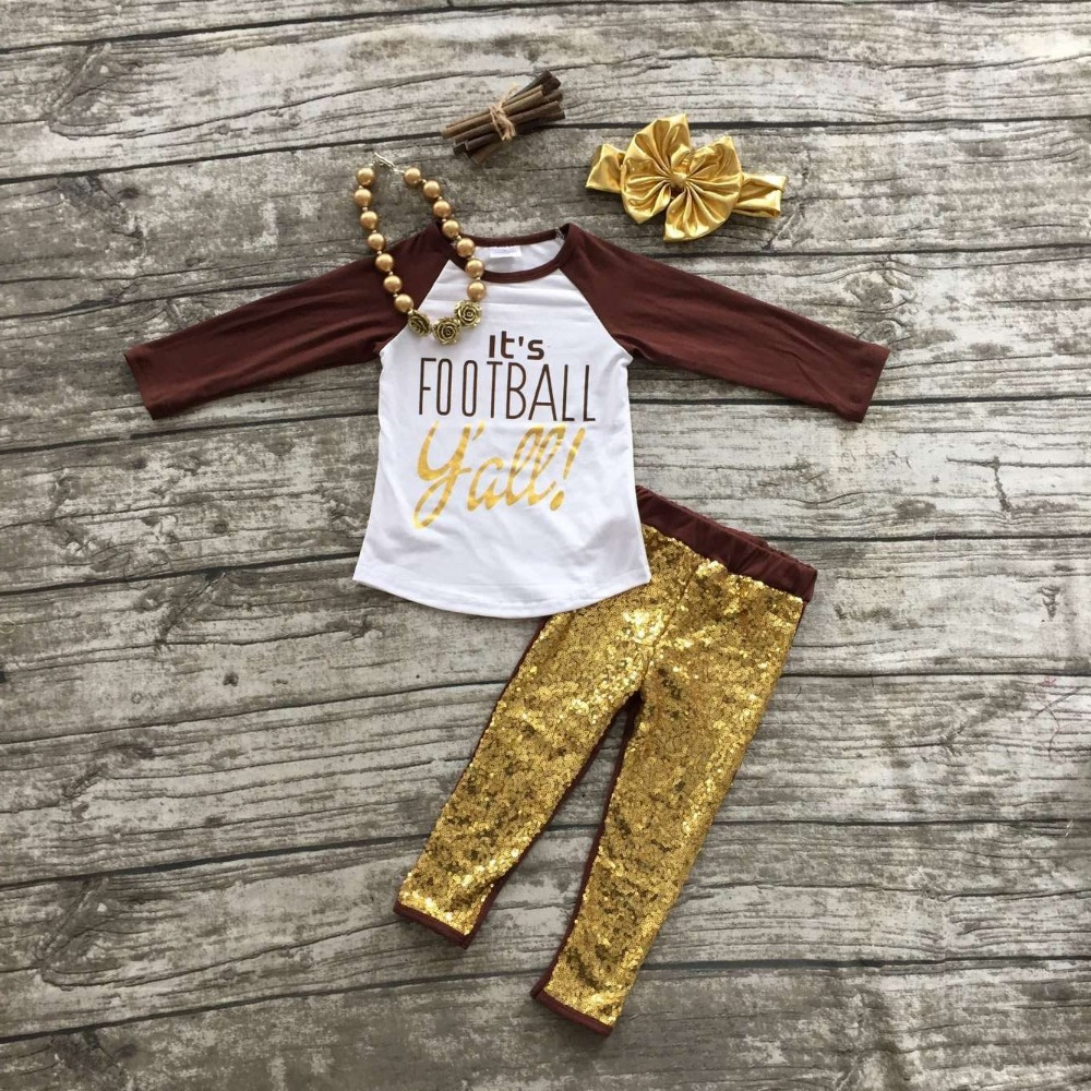 girls football outfit clothing sets girls It's football Y'all clothes girls sequin pant sets with necklace and bows(China (Mainland))