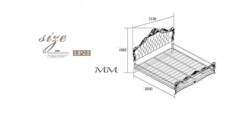 Современный европейский твердой древесины кровать модные резные кожа 12