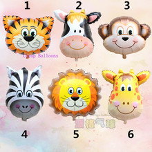 New mini Lion & monkey & zebra & deer & cow & tiger Head Helium Foil Balloons Birthday Party Animal Balloons theme party suppies(China (Mainland))