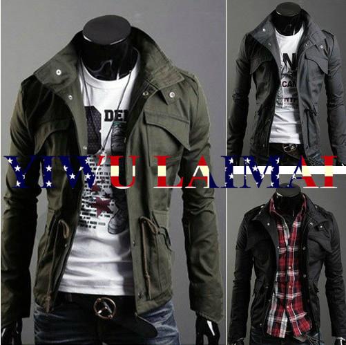 Free Shipping New Slim Sexy Top Designed Mens Jacket Coat Colour:Black,Army green,Gray(China (Mainland))