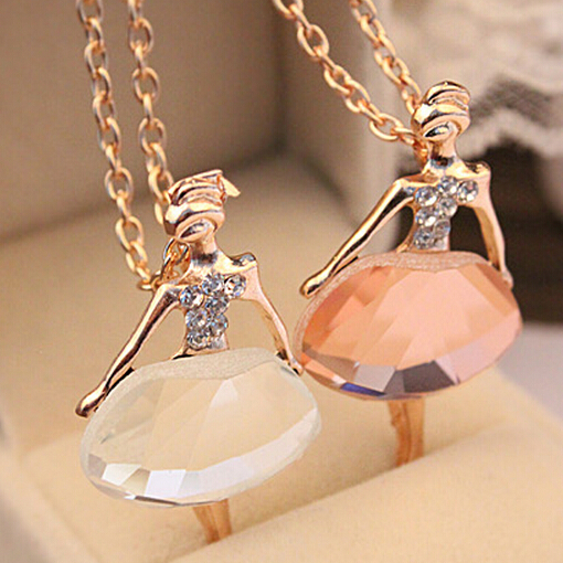 18K Gold Plated Sweater Chain Shiny Crystal Ballet Girl Pendant Necklace Statement Long Necklaces Jewelry For