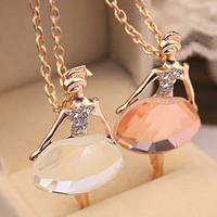 18K Gold Plated Sweater Chain Shiny Crystal Ballet Girl Pendant Necklace Statement Long Necklaces Jewelry For Women 2014 PT31