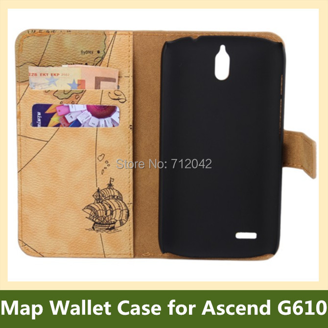 World Map Pattern PU Leather Wallet Flip Cover Case for Huawei Ascend G610 with Stand Holder 100pcs/lot DHL/EMS Free Shipping