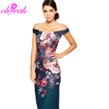 R80210 New design elegant women flower printing bodycon dress sexy slash neck mid-calf ladis dress china style women dress(China (Mainland))