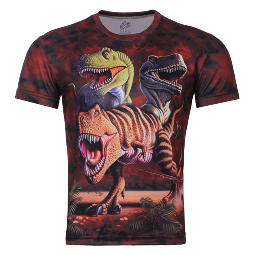 2015 Summer Children New Fashion 3D T Shirt Funny Clothes.The dinosaur Print Short Sleeve Brand Tops Boy Girl Tees Size 100-150(China (Mainland))