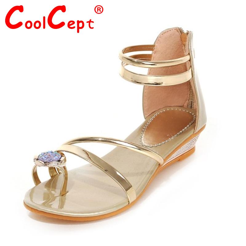 ladies sandals flats summer shoes women summer bohemia style rhinestone zipper flat flip flops women shoes P23529 size 35-39<br><br>Aliexpress