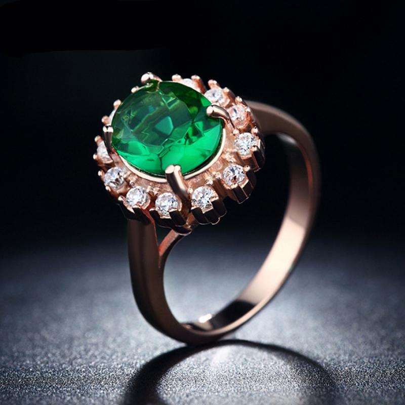 emerald jewellery round trendy ring turquoise crystal 585 gold plated cz diamond jewelry party wedding rings for women kr013(China (Mainland))