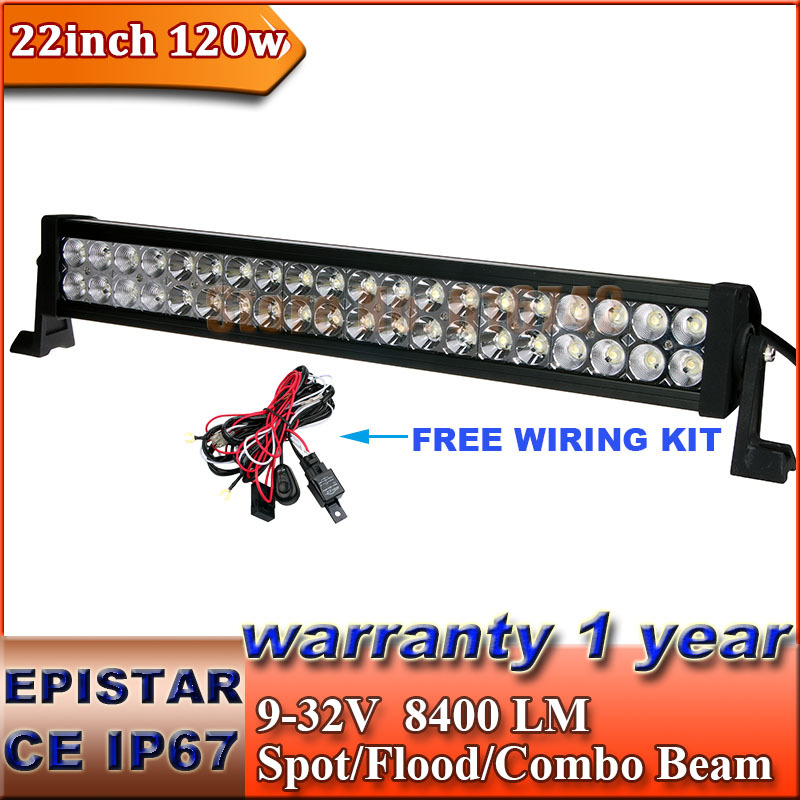 "22"" inch 120W LED Light Bar + Wiring Kit Working Driving Boat Car Truck SUV ATV OffRoad Fog Lamp 12V 24V Spot Flood Combo Beam(China (Mainland))"