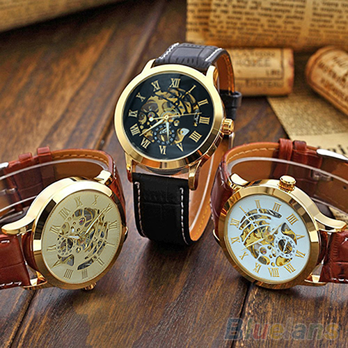 Mens Roman Numerals Stainless Steel Mechanical Skeleton Hollow Sport Wrist Watch 3Y3FD(China (Mainland))