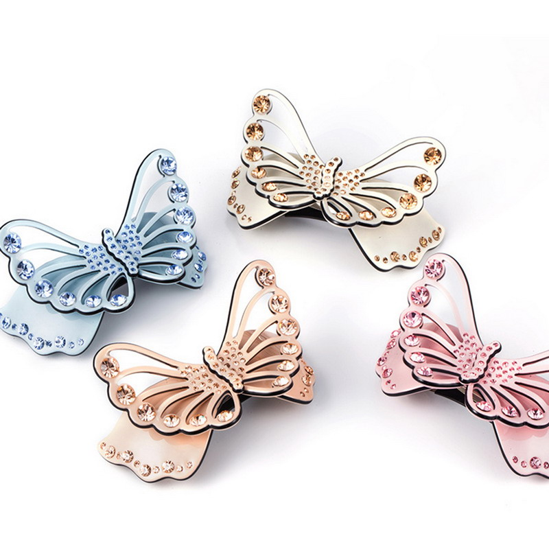 1Pcs Fashion Rhinestone Crystal Hairpin Hair Clip Acetate Butterfly Charming Barrette Jewelry Accessories Hairwear(China (Mainland))