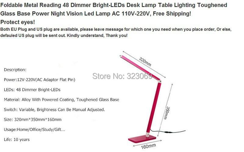 Купить 2016 горячее надувательство led настольная лампа 10 Вт 48smd затемнения стол свет Складной Металл Стекло База Мощность Ночного Видения Чтения освещение