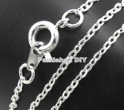 "120Strands Brass Chain Necklace Jewelry Findings Silver Color Nickel Free chain:2mm long, 1.5mm wide, 18""(China (Mainland))"