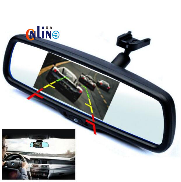 "4.3"" Blue Mirror TFT LCD Car Interior Mirror Parking Rearview Mirror Monitor With Special Bracket For VW Skoda Toyota Honda Kia(China (Mainland))"