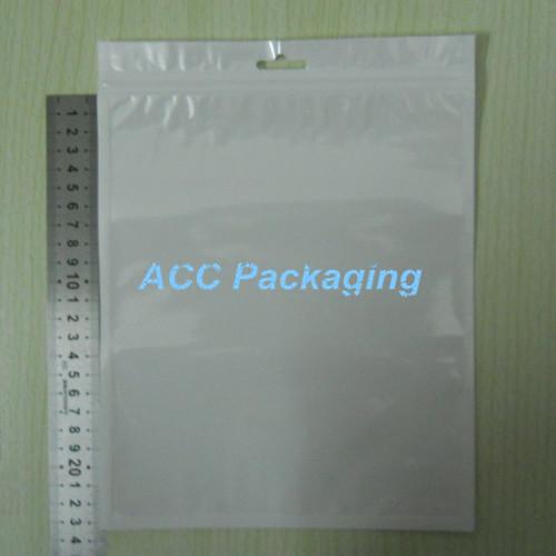 Wholesale 18*26cm White/Clear Self Seal Zipper Plastic Retail Packaging OPP Poly Bag, Ziplock Zip Lock Bag Package W/ Hang Hole(China (Mainland))