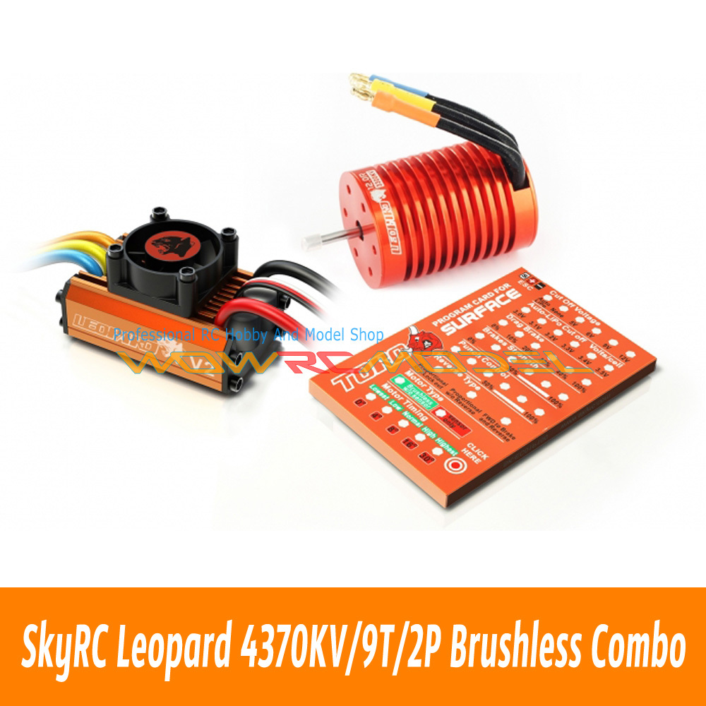 Skyrc Leopard 4370KV/9T/2P Brushless Motor + Leopard 60A ESC + Program Card Combo Set For 1/10 Car(China (Mainland))