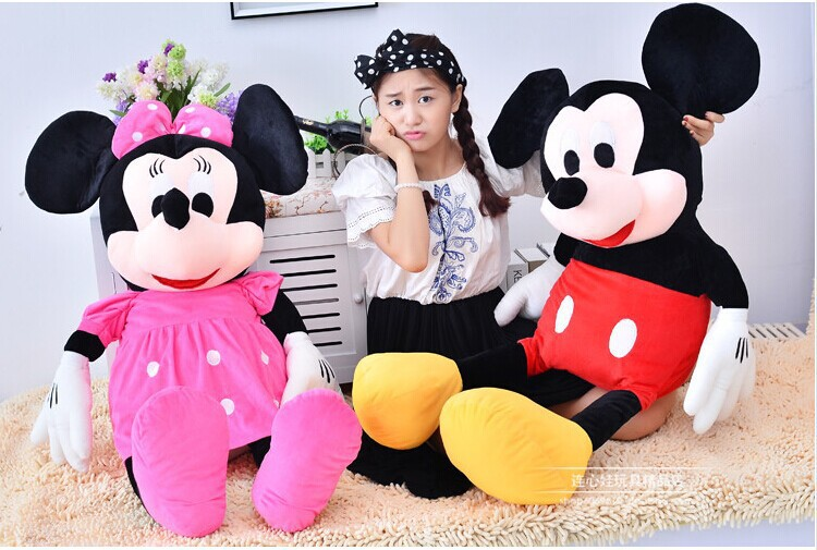 2016 New Free Shipping 100cmLarge Mickey Mouse Stuffed Toys&Giant Minnie Mouse Plush Toys For Christmas Gifts(China (Mainland))