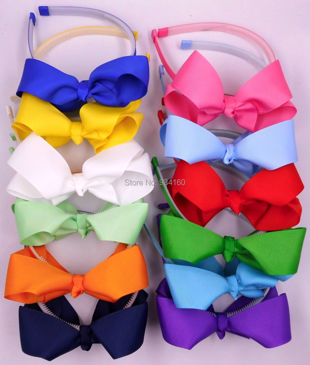 mix 15color solid grosgrain boutique baby girl hair bow headwear hairbow headband headdress with teeth(China (Mainland))