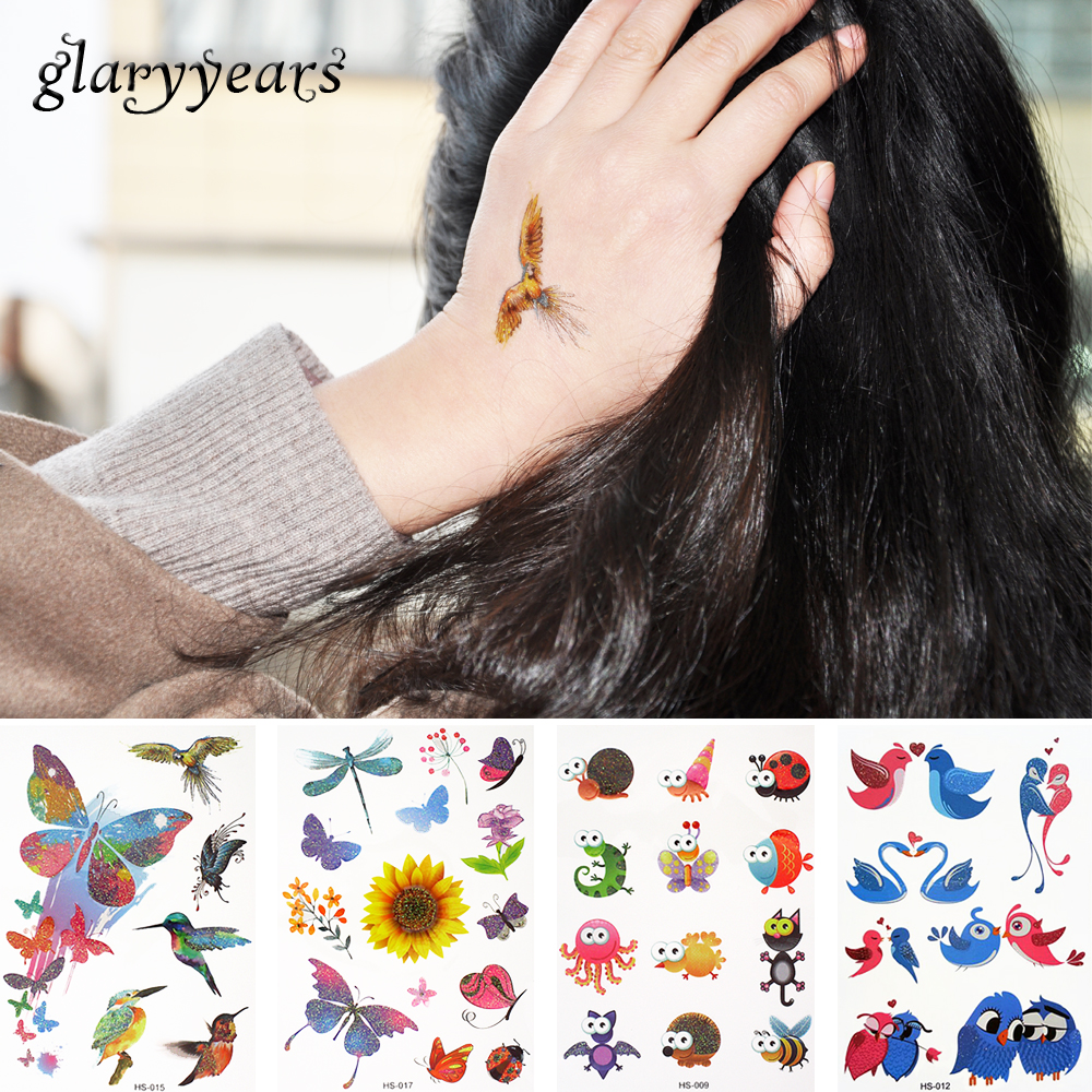 10 Pieces/lot Cartoon Small Animal 18 HS Designs Flash Glitter Tattoo Sticker Pumpkin Butterfly Style Temporary Tattoo for Child(China (Mainland))