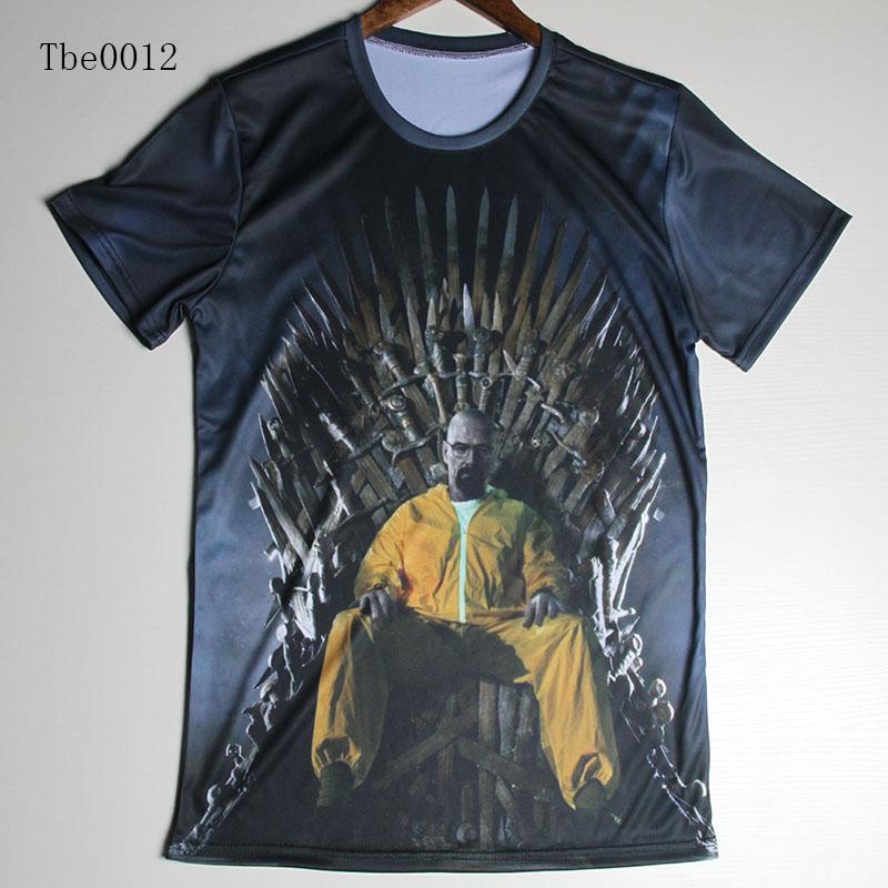 TOP Quality Men's 3D T Shirts Short Sleeve Creative Basketball Sports Good breaking bad/ Hero alliance/ skull t shirts(China (Mainland))