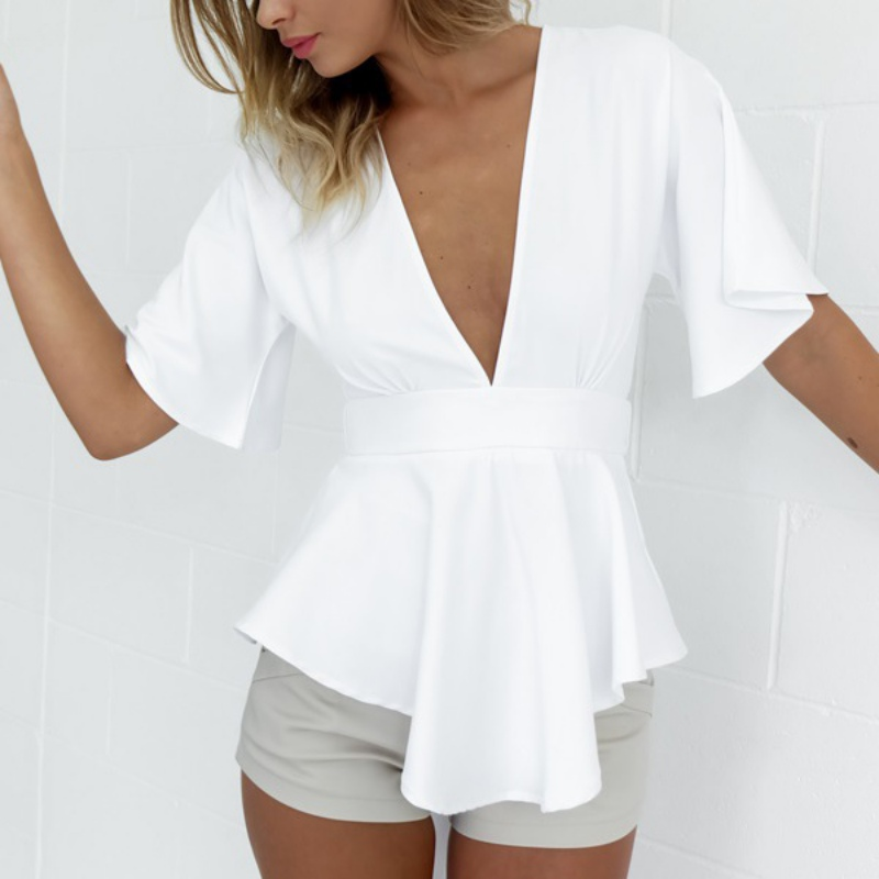Women Elegant Short Sleeve Shirt Sexy Tops Evening Wear White Deep V Neck Blouse(China (Mainland))