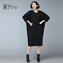 2015 Women's Dresses European Style Casual Winter Thick Cotton Black Gray Plus Size Knee-Length Dress vestidos (R.Melody DS0158)(China (Mainland))