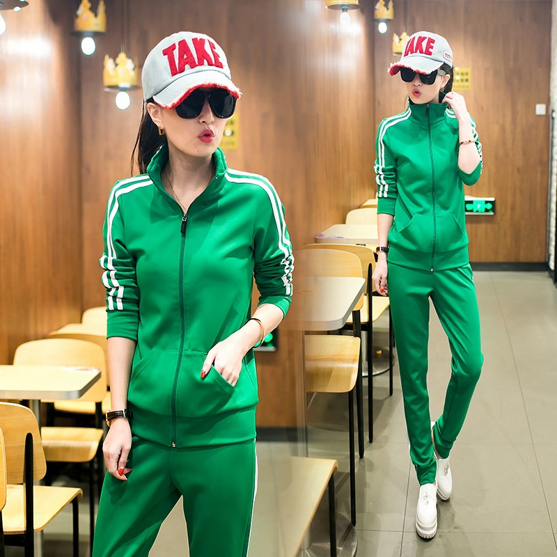 2015 New Female Sport Suit Set Print Striped Women Tracksuits Sport Suits 2 Piece Long Sleeve Casual Set Green Sportwear Set(China (Mainland))