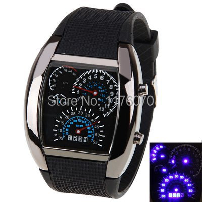 Hot Sale LED Car Watch/Table with Blue Light Arch Dial and Silicon Watch Band - Black,men watch(China (Mainland))