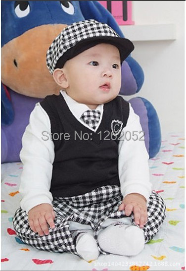 Free shipping Baby Boy Formal Clothes 5pcs suit(hat+tops+vest+tie+pants) school style high quality baby sets(China (Mainland))